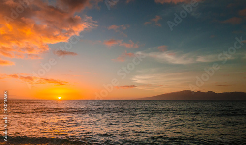 Amazing view of sunset at Kaanapali beach in Maui Hawaii USA