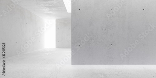 Fotomural Abstract empty, modern concrete walls hallway room with indirekt ceiling lights
