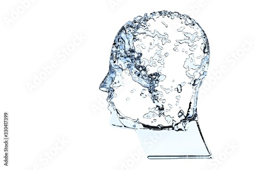 Fotografiet Human head shape filled with blue water isolated on white background - hydration