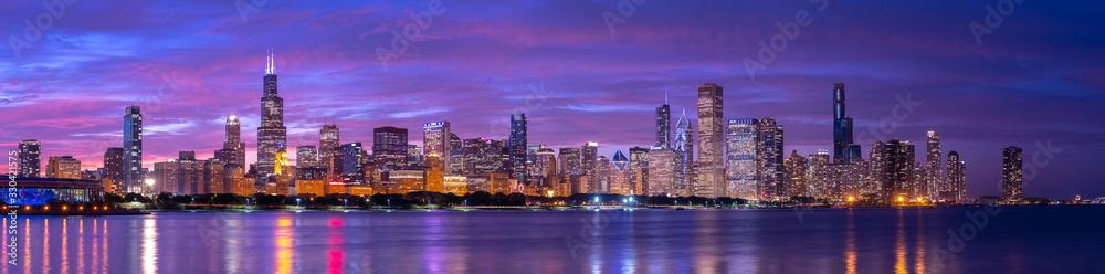 Fototapeta Chicago downtown buildings skyline evening sunset dusk