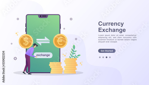 Fototapeta Currency exchange illustration concept with character obraz