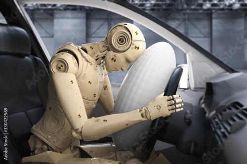 Photo crash tesh dummy in car