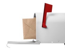 Mail Box With Letter On White Background