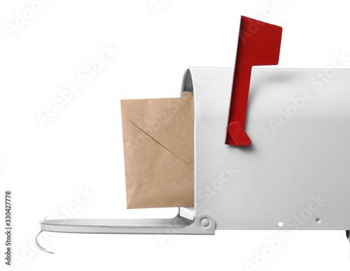 Obraz na plátně Mail box with letter on white background