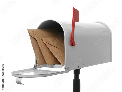 Fotomural Mail box with letters on white background