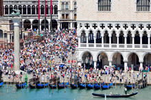 Summer Tourists Crown St Mark's Plaza  In Venice, Italy