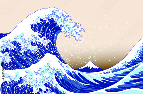 Japanese great wave on old paper style Fototapeta