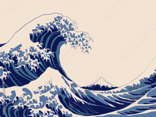 abstract background with waves and flowers Tableau sur Toile