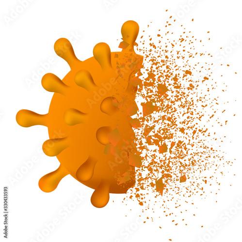 コロナ ウイルス 破壊 アイコン Fotobehang