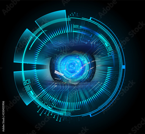 Blue eye cyber circuit future technology concept background Canvas Print
