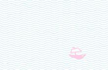 Sketch Of Tiny Boat In Ocean -...