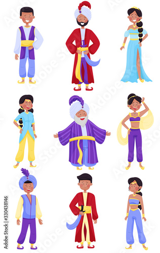 Fényképezés People Characters Wearing East Clothing Vector Illustrations Set
