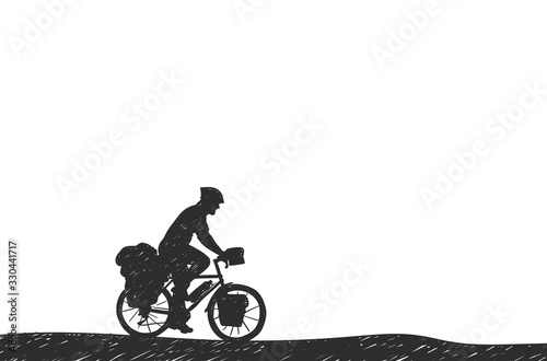 Fotomural Man riding touring bicycle with bags silhouette hand drawn vector, Bikepacking