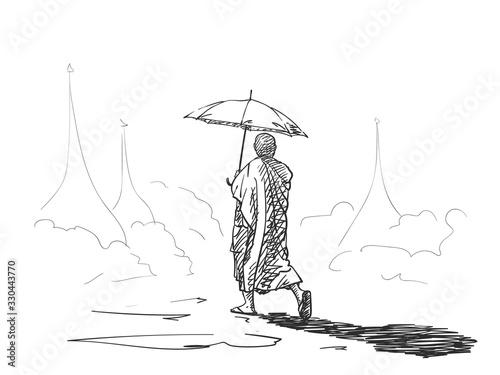 Valokuva Sketch of buddhist monk with umbrella walking among a pagodas, Hand drawn vector