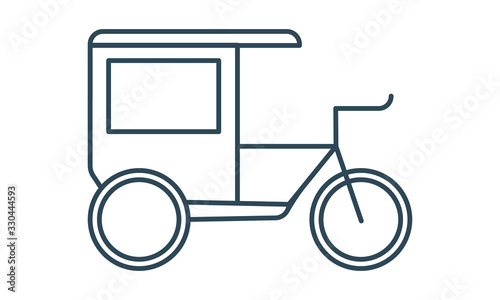 Vászonkép Cycle rickshaw glyph icon vector image