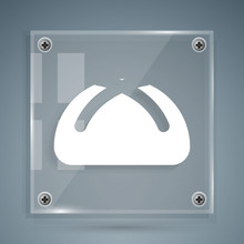 White Easter Cake Icon Isolated On Grey Background. Happy Easter. Square Glass Panels. Vector Illustration