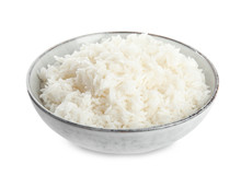 Bowl With Cooked Rice Isolated...