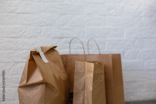 Assortment of food delivery containers on table - 330451115