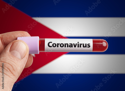 Scientist holding Coronavirus infected blood in test tube in front of Cuba flag Wallpaper Mural