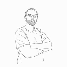 Man With Arms Crossed Over His Chest Wearing Glasses And Beard Hand Drawn Isolated, Vector Sketch Hand Drawn Linear Illustration