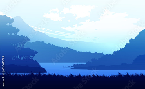 Fototapeta Mountains lake and river landscape silhouette tree  horizon Landscape wallpaper Sunrise and sunset Illustration vector style colorful view background obraz