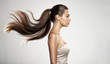 canvas print picture - Profile portrait of a beautiful woman with a long straight  hair.