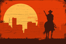 Silhouette Of Lonesome Cowboy Riding Horse St Sunset With City Buildings Landscape. Vector