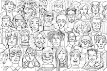 Sketch Of Many People Faces, C...