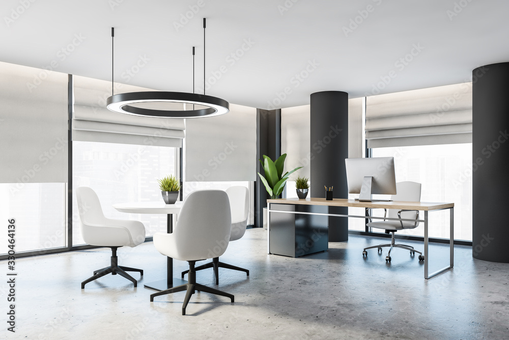 Fototapeta Gray CEO office with columns and round table