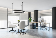 Gray CEO Office With Columns A...