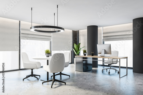 Fototapeta Gray CEO office with columns and round table obraz