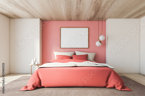 obraz dibond White and pink bedroom with horizontal poster