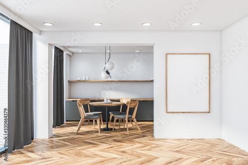 Obraz Panoramic white kitchen, round table and poster - fototapety do salonu