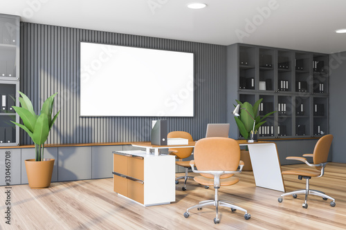 obraz dibond Gray CEO office corner with bookcase and poster