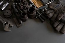 Old Tools On Mechanic's Desk B...