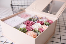 Colorful Rose Flower Gift Box With Fluorescent Lights Around. It's A Good Way To Propose