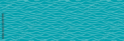 Wavy lines vector seamless border. Thin hand drawn uneven doodle style horizontal sea wave banner. Abstract marine geometric repeat pattern ribbon trim washi tape. For nautical, water, ocean concept.