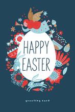 Happy Easter. Vector Template For Greeting Cards.