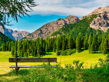 Bench Landscape In The Mountai...