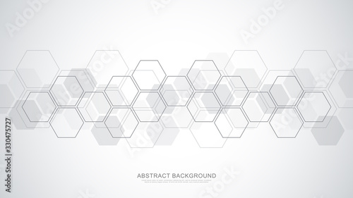 Photo Abstract background with geometric shapes and hexagon pattern