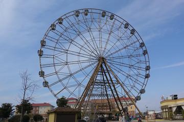 March 13, 2020 Russia Sochi. Ferris wheel on a background of blue sky