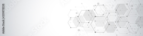Fototapeta Hexagons pattern. Geometric abstract background with simple hexagonal elements. Medical, technology or science design. obraz