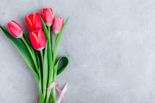 Pink Spring Tulips On Gray Sto...