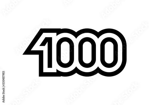 Canvastavla Number 1000 vector icon design