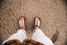 Footprints On The Sand At The ...