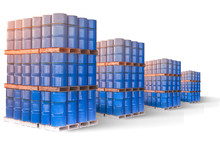 A Warehouse In Which Oil Is Stored. Reserve Storage Of Petroleum Products. Stocks Of Oil Products In Case Of Crisis. Blue Barrels On A White Background. Blue Barrels Are Stored In Several Levels.