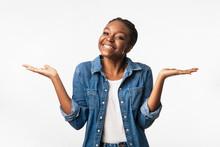 Positive African Girl Shruggin...