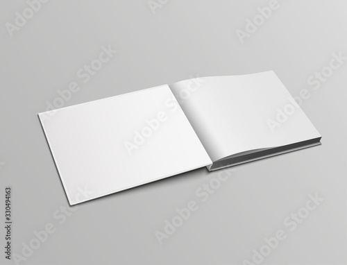 Valokuva Vector realistic mockup pages of open book, landscape orientation in hardback