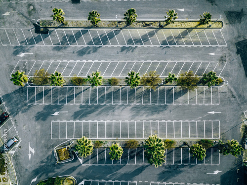 Vászonkép Aerial view of empty parking lots in Italy.