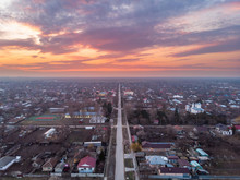 Aerial Sunset Landscape Took A...